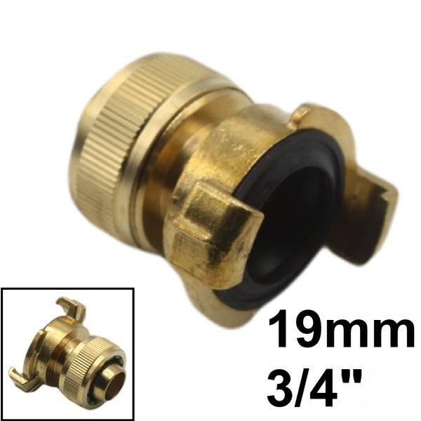 """3/4"""" - 19 mm Schlauchanschluss -> Schnellanschluss Klauen-Kuppung Übergangsstück"""