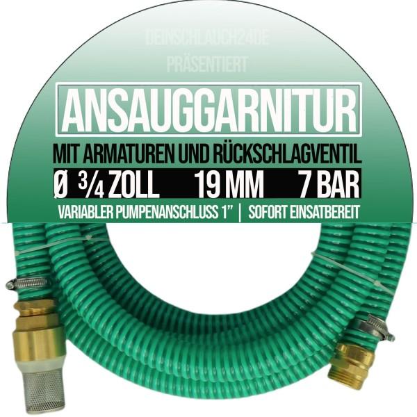 "19mm 3/4"" Ansauggarnitur Saug Ansaug Garnitur Schlauch 1-25m 1 Zoll grün"