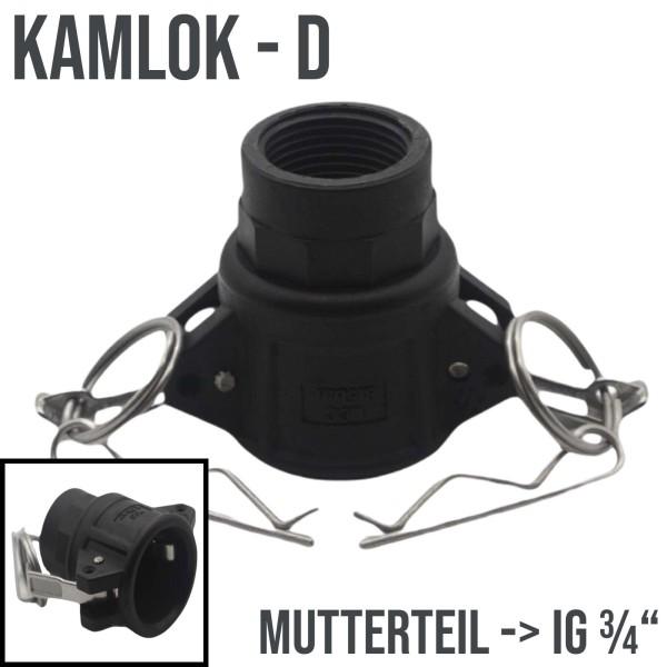 "Kamlok Typ D (PP) Mutterteil ->IG 3/4"" DN19 DN20"