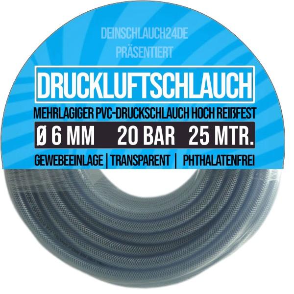 6 x 12 mm PVC Druckluftschlauch Gewebe Universal Wasser Luft Schlauch klar - 25m