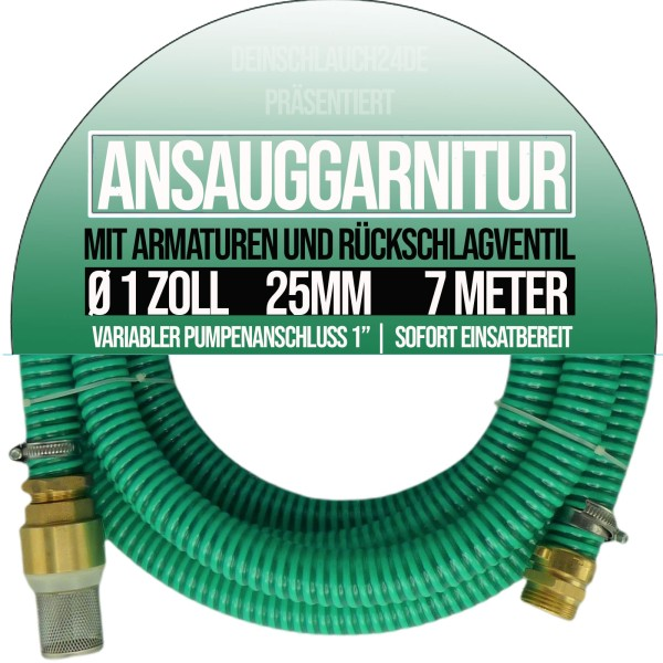 "25mm 1"" Ansauggarnitur Saug Ansaug Garnitur Schlauch grün - 7m"