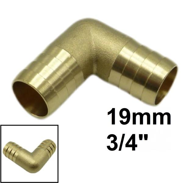 """3/4"""" - 19 mm 90° Winkel Schlauch Verbinder Tülle Kupplung Reparaturröhrchen Messing"""