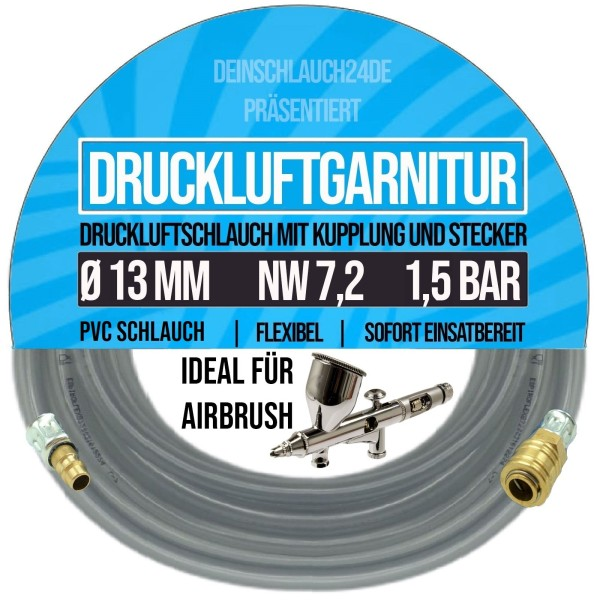 13mm Druckluftgarnitur Pressluft Druckluft Luft Kompressor Schlauch klar 1,5bar