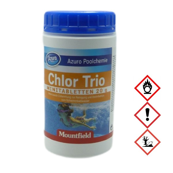 Azuro Pool Chlor Tabletten Tabs Desinfektion Trio Multifunktion (20g) - 0,9kg
