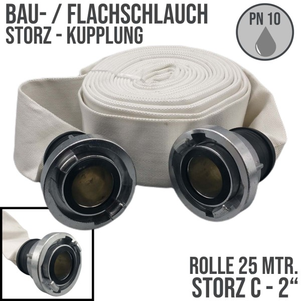 """Bauschlauch Feuerwehr Flach Wasser Industrie Schlauch STORZ C 51 mm 2"""" - 25m"""