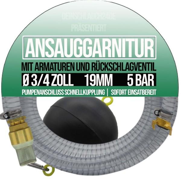 """19mm 3/4"""" Ansauggarnitur Saug Garnitur Schlauch schwimmende Entnahme 1-25m"""