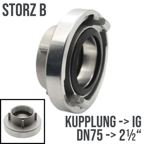 """Storz B DN75 Saug Bau Feuerwehr Schlauch Kupplung Innengewinde IG 2 1/2"""""""
