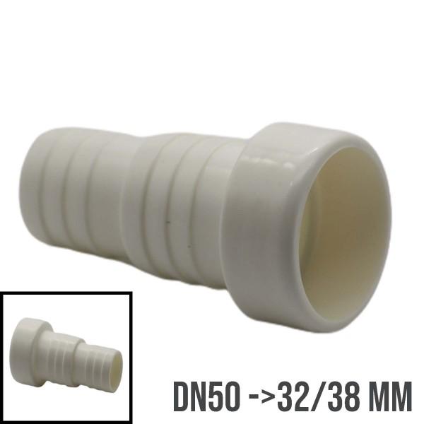 Schlauchtülle Klebestutzen Schlauchverbinder ABS Pool Teich DN50 ->32/38mm
