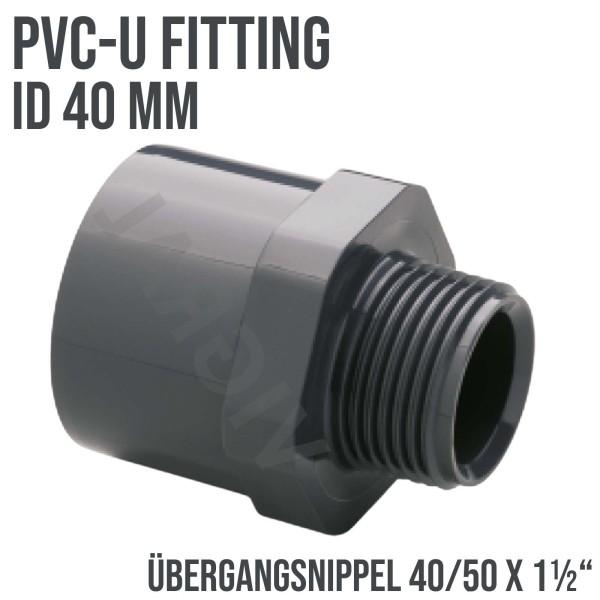 "40mm PVC Klebe Fitting Verbinder Übergangsnippel Sechs-/Achtkant 40/50 x 1 1/2"""