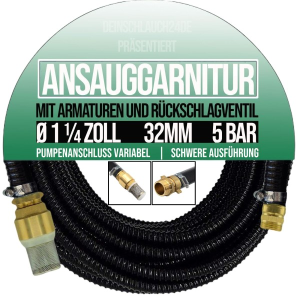 "32mm 1 1/4"" Ansauggarnitur Saug Ansaug Garnitur Schlauch Zoll 1-25m grün"