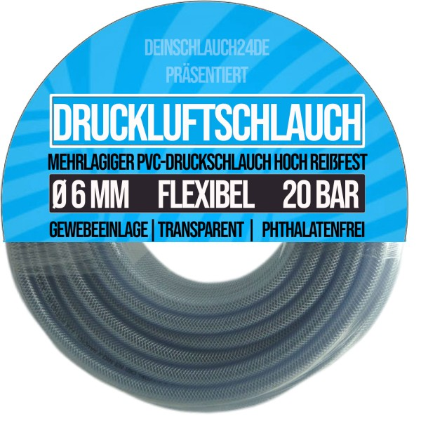 6 x 12 mm PVC Druckluftschlauch Gewebe Universal Wasser Luft Schlauch klar