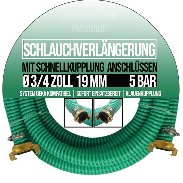 "19mm 3/4"" Ansauggarnitur Saug Pumpen Schlauch Verlängerung GEKA kompatibel 2-20m"