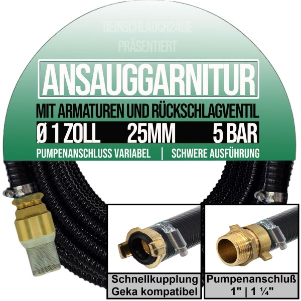 """25mm 1"""" Ansauggarnitur Sauggarnitur Saugschlauch grün-schwarz"""