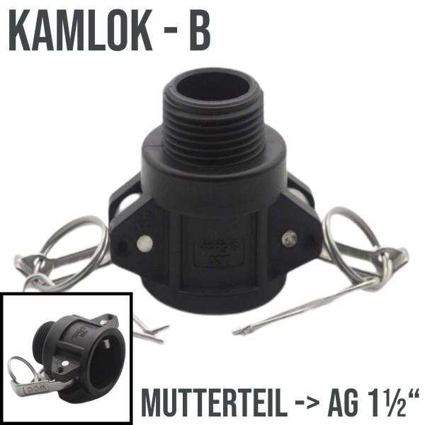 "Kamlok Typ B (PP) Mutterteil ->AG 1 1/2"" DN38"
