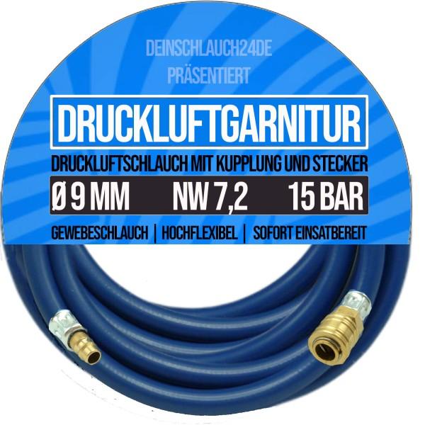 9mm Druckluftgarnitur Pressluft Druckluft Luft Kompressor Schlauch BUNA 20bar
