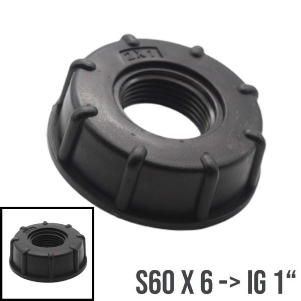 """IBC Container Tank Zubehör Adapter S60x6 mit IG 1"""""""