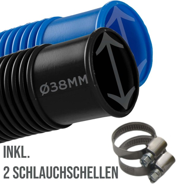 38mm Schwimmbadschlauch Pool Solar Saug Teich Schlauch blau / schwarz - SET