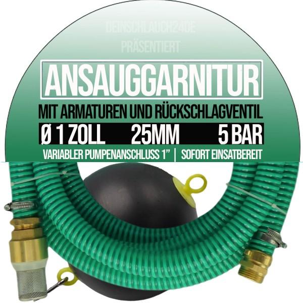 """25mm 1"""" Ansauggarnitur Saug Garnitur Schlauch schwimmende Entnahme 1-25m"""