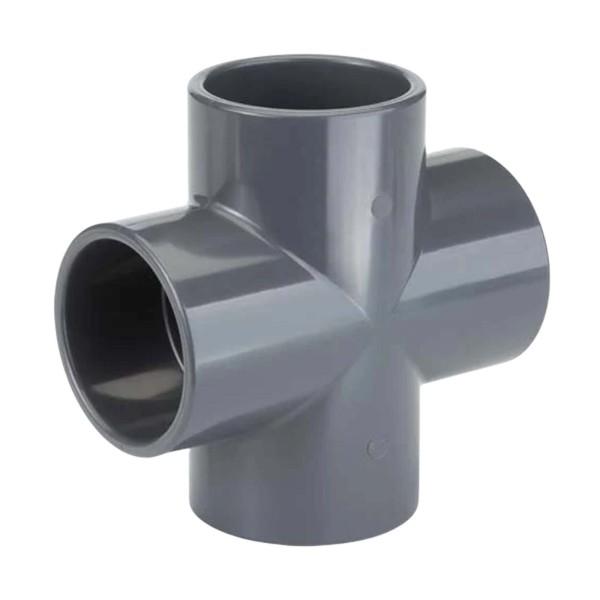 PVC Klebe Fitting Rohr Muffe Kappe Verbinder Kreuz-Stück 90° 50 mm
