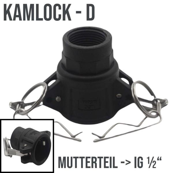 "Kamlok Typ D (PP) Mutterteil ->IG 1/2"" DN13 DN15"