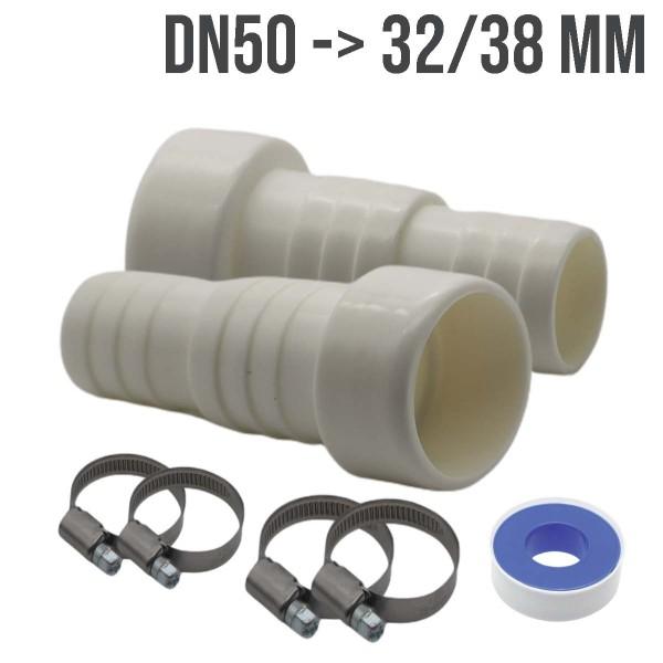 Schlauchtülle Klebestutzen Schlauchverbinder ABS Pool Teich DN 50 x 32/38mm - 2er Set