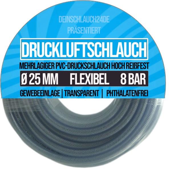 25 x 34 mm PVC Druckluftschlauch Gewebe Universal Wasser Luft Schlauch klar