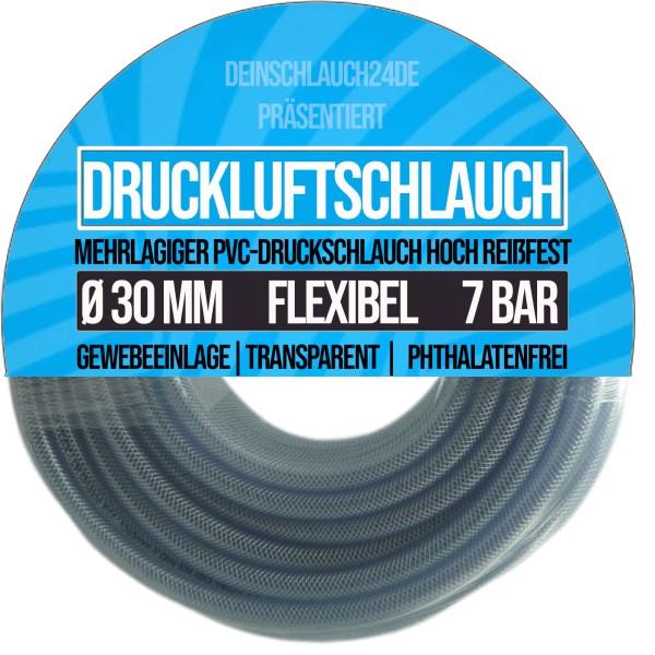 30 x 38 mm PVC Druckluftschlauch Gewebe Universal Wasser Luft Schlauch klar