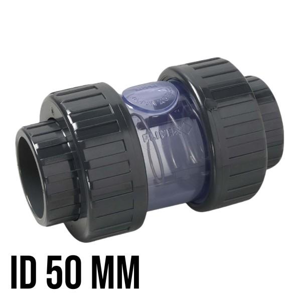 "50 mm - 2"" PVC Rückschlagventil Feder/Kugel PN16 Fitting - transparent"