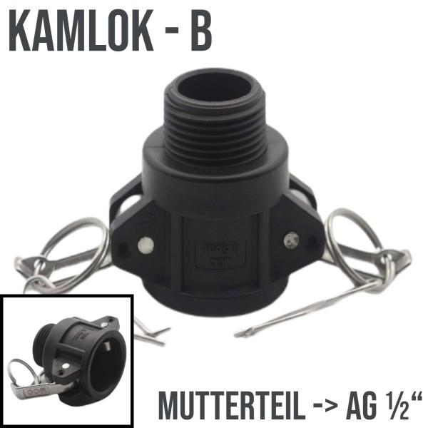 "Kamlok Typ B (PP) Mutterteil ->AG 1/2"" DN13 DN15"