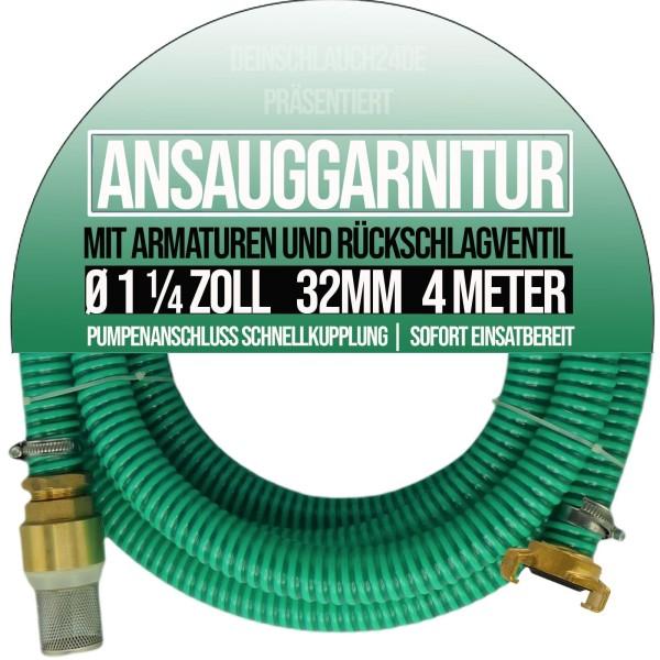 "32mm 1 1/4"" Ansauggarnitur Saug Ansaug Garnitur Schlauch grün - 4m"