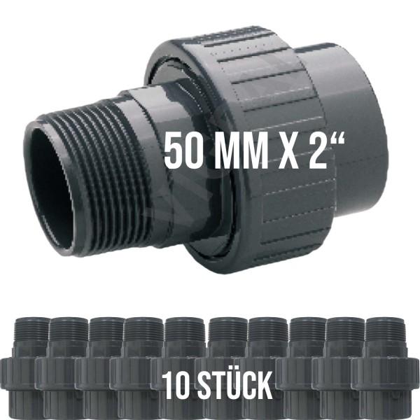 """PVC Klebe Fitting Rohr Muffe Verschraubung Spritzguss 50 mm x 2"""" - 10 Stück"""