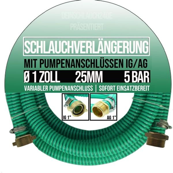 "25mm 1"" Ansauggarnitur Saug Pumpen Schlauch Verlängerung grün-schwarz"