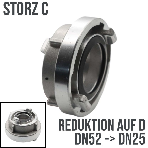 STORZ C DN52 auf D DN25 Reduktion Adapter Kupplung Schlauchkupplung 10 bar