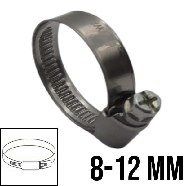 8 - 12 mm Schlauchschelle W2 (DIN3017) Rohr Schelle Edelstahl V2A - Bandbreite: 9 mm