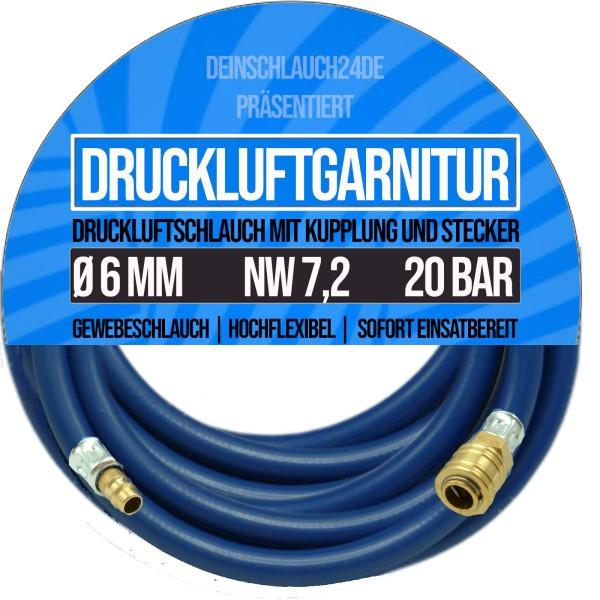 6mm Druckluftgarnitur Pressluft Druckluft Luft Kompressor Schlauch BUNA 20bar