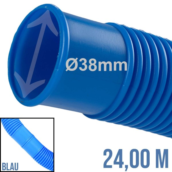 38 mm Schwimmbad Pool Solar Saug Ansaug Teich Schlauch blau - 24m Rolle