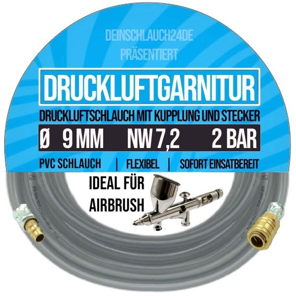9mm Druckluftgarnitur Pressluft Druckluft Luft Kompressor Schlauch klar 3bar