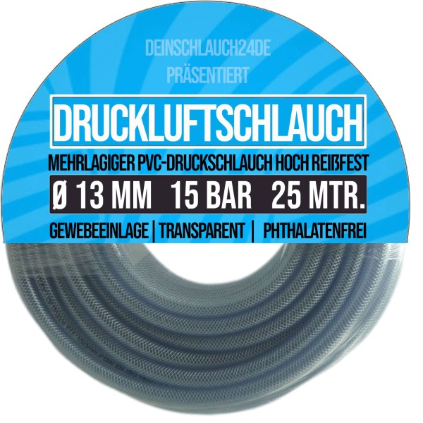 13 x 19 mm PVC Druckluftschlauch Gewebe Universal Wasser Luft Schlauch klar - 25m