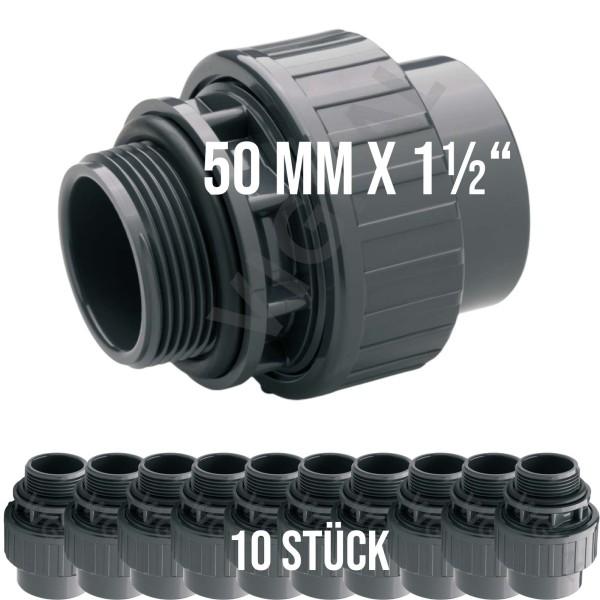 "50 mm PVC Klebe Fitting Muffe Verschraubung O-Ring 50 mm x 1 1/2"" - 10 Stück"