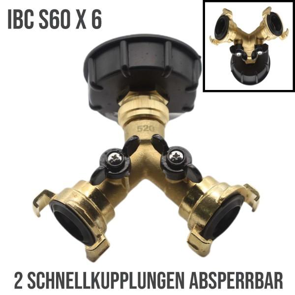 S60x6 IBC Adapter Y-Verteiler Schnellkupplung absperrbar (GEKA kompatibel) Container Tank Zubehör