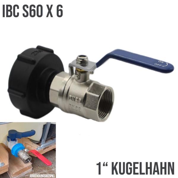 """S60x6 IBC Kugelhahn Ventil Messing IG 1"""" Container Tank Zubehör"""