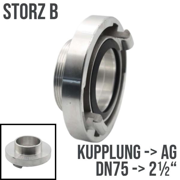 """Storz B DN75 Saug Bau Feuerwehr Schlauch Kupplung Außengewinde AG 2 1/2"""""""