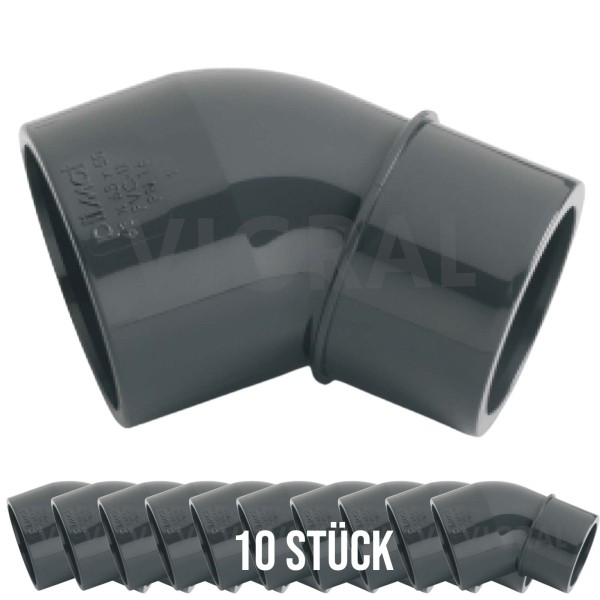 50 mm PVC Klebe Fitting Winkel 45° reduziert 50x50/40 mm - 10 Stück
