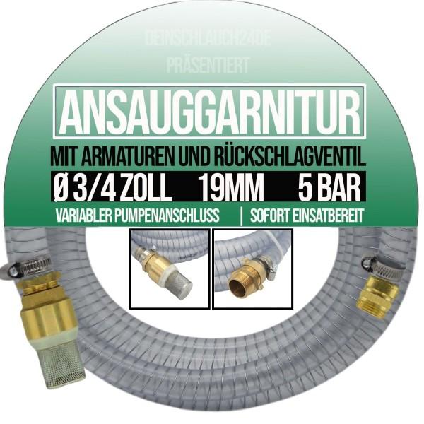 "19mm 3/4"" Ansauggarnitur Saug Ansaug Garnitur Schlauch 1-25m transparent"