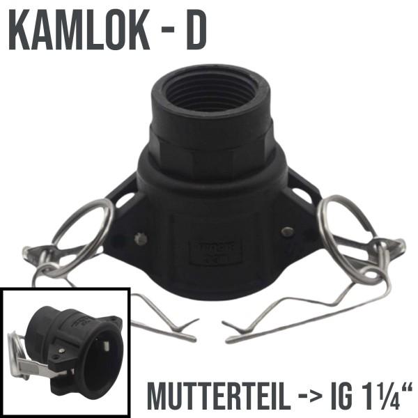 "Kamlok Typ D (PP) Mutterteil ->IG 1 1/4"" DN32"