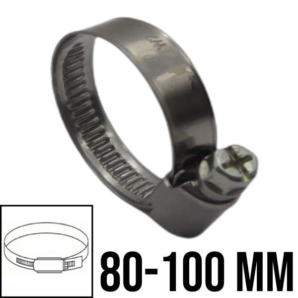 Schlauchschellen Rohr Schelle Edelstahl V2A Bandbreite 9mm DIN3017 W2   80-100mm