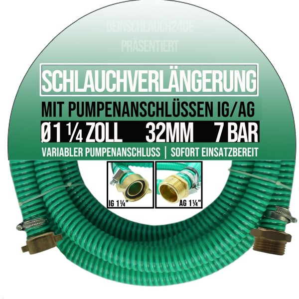 "32mm 1 1/4"" Ansauggarnitur Saug Pumpen Schlauch Verlängerung GEKA kompatibel"