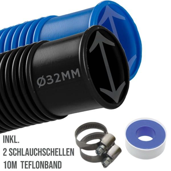 32mm Schwimmbadschlauch Pool Solar Saug Teich Schlauch blau / schwarz - SET