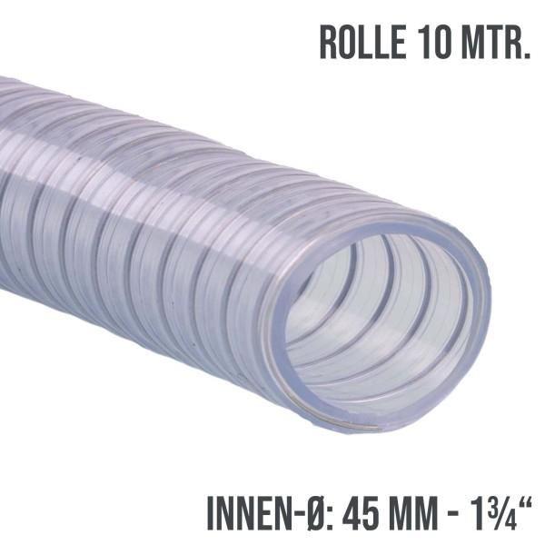 """45mm 1 3/4"""" Saugschlauch Spiral Abwasser Pumpe Schlauch Stahlsspirale transparent - 10m Rolle"""