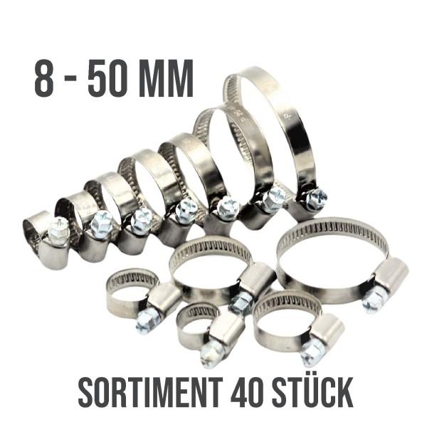40 Stück - Schlauchschellen Klemmschellen Edelstahl 8-50mm W2 Sortiment Set
